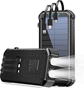 Solar Power Bank 30000mAh,Built-in Type-C&Micro&iOS 3 Cables Portable Quick Charger External Battery Pack 4 Output Dual Input, LED Flashlight&SOS
