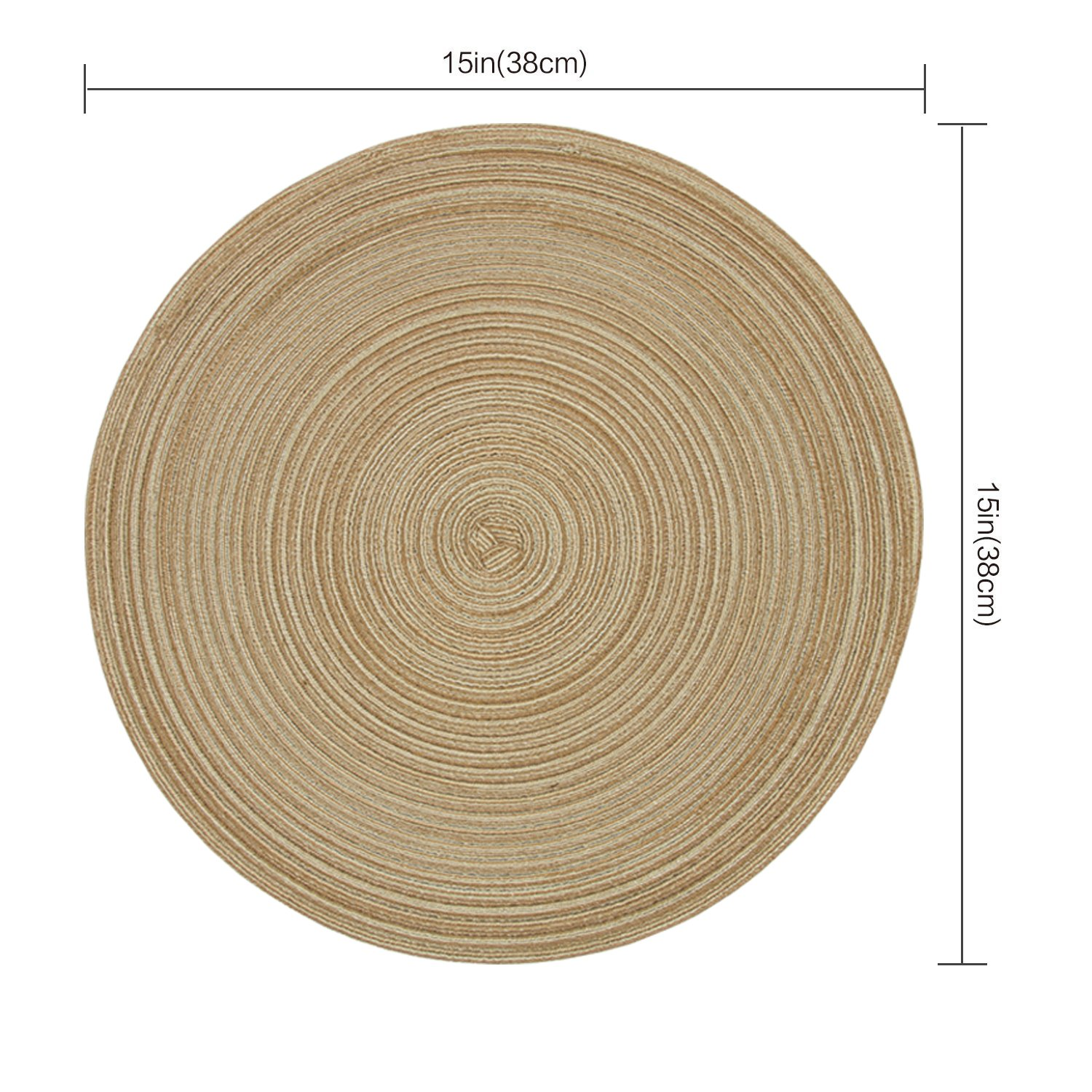Homcomoda Round Table Placemats, Placemats Kitchen Table Set 6-14 inch (Brown) by Homcomoda (Image #2)