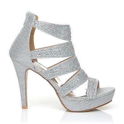 0b598faa3b6 Luxe Silver Caged Diamante Encrusted High Heel Platform Peep Toe Sandals