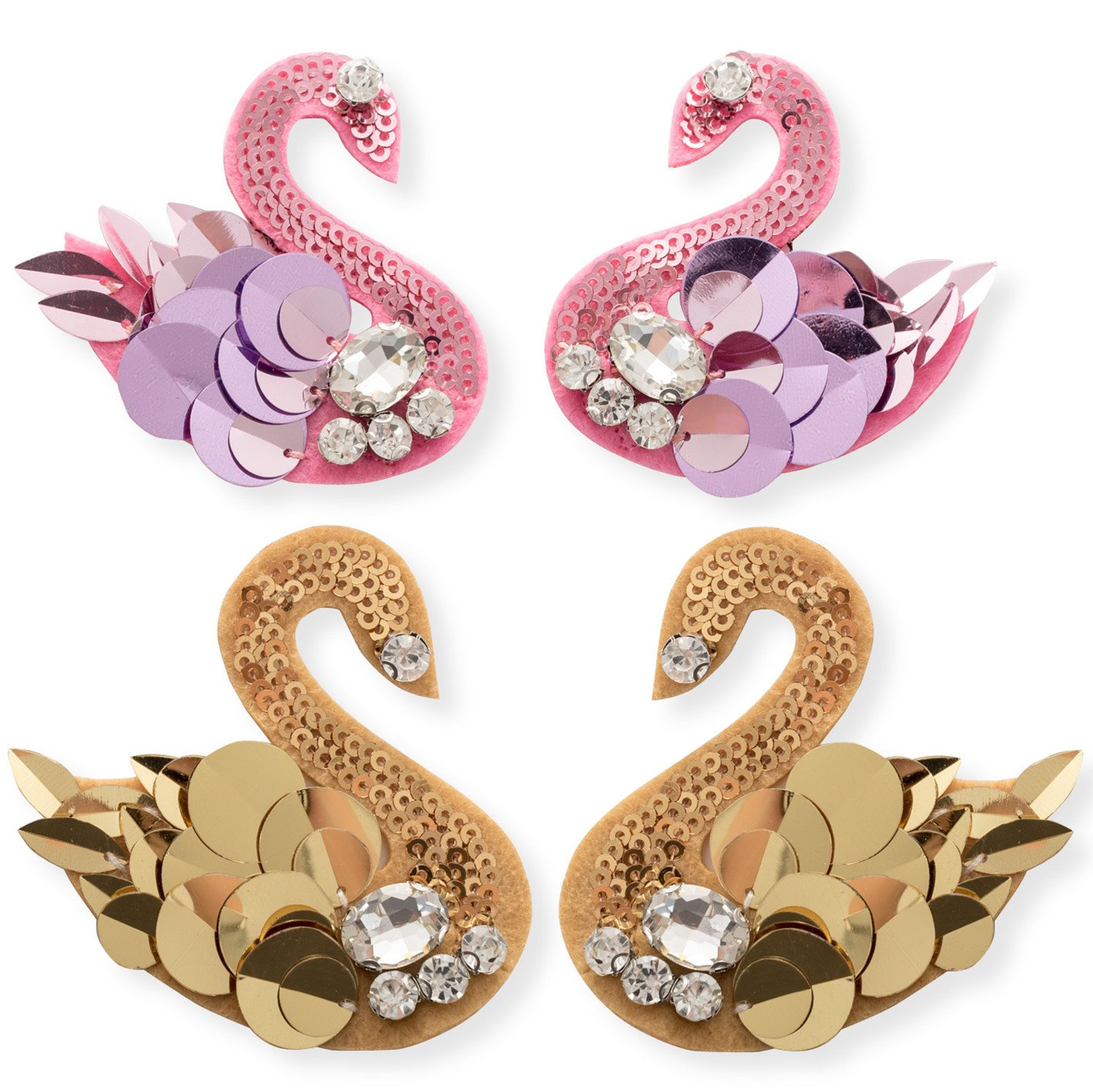 Popular Brand White Swan Sequined Patch Cloth Decoration Applique Embroidered Patch Sewing Accessories Apparel Sewing & Fabric Patches