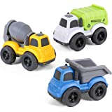 iPlay, iLearn Friction Powered Construction Vehicles Toy Set, Garbage Truck, Dump Truck, Mixer Cement, Inertial Push Go…