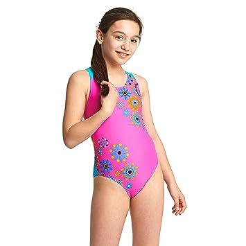 2c54b9abc0 Zoggs Girls' Folk Tale Flyback Swimsuit: Amazon.co.uk: Sports & Outdoors