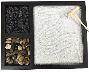 Deluxe Wooden Zen Sand Garden with 2 Types of Rocks, Sand, and Rake