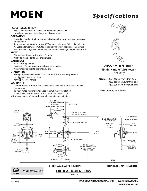 Brushed Gold Moen T3692BG Voss Moentrol Valve Shower Only Trim Kit