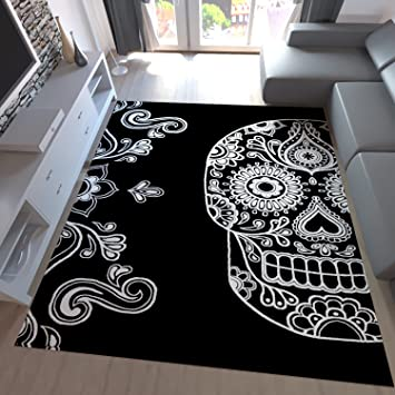 Attraktiv Teppich Home Designer Rug Black White Artistically Modern Skull Motif  Black, 160x230 Cm