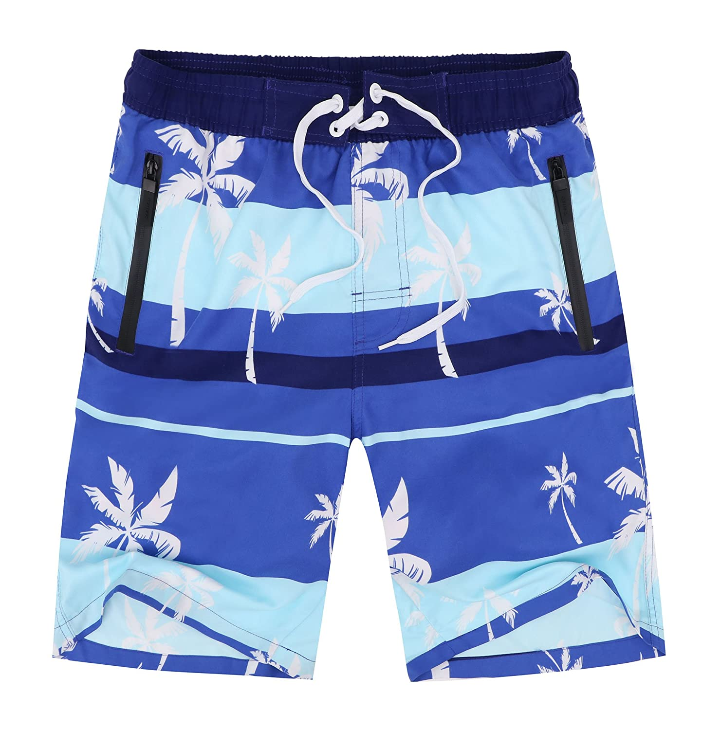 df117746c7 Adjustable drawstring for secure fit. Zipper pockets to hold small personal  items. Quick dry material; Perfect swimming trunks for swims at the beach  or in ...