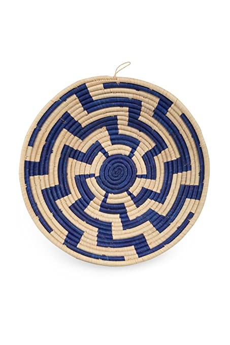 Ten Thousand Villages Natural Blue Round Woven Raffia Basket Zig Lightning Bolts