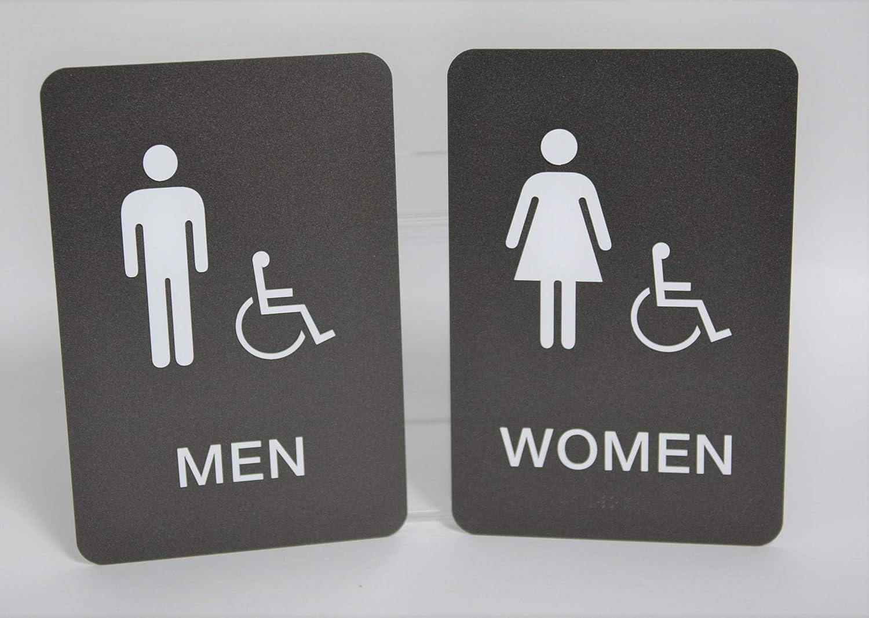 Men & Women ADA Restroom (Bathroom) Modern Chic Sign w/Braille - Graphite/White