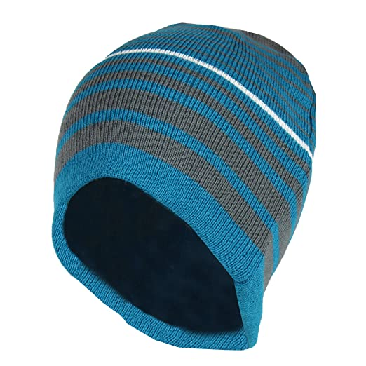 Blue   Grey 2 in 1 Reversible Striped   Solid Knit Beanie Hat – Winter Skull bd26e36319d