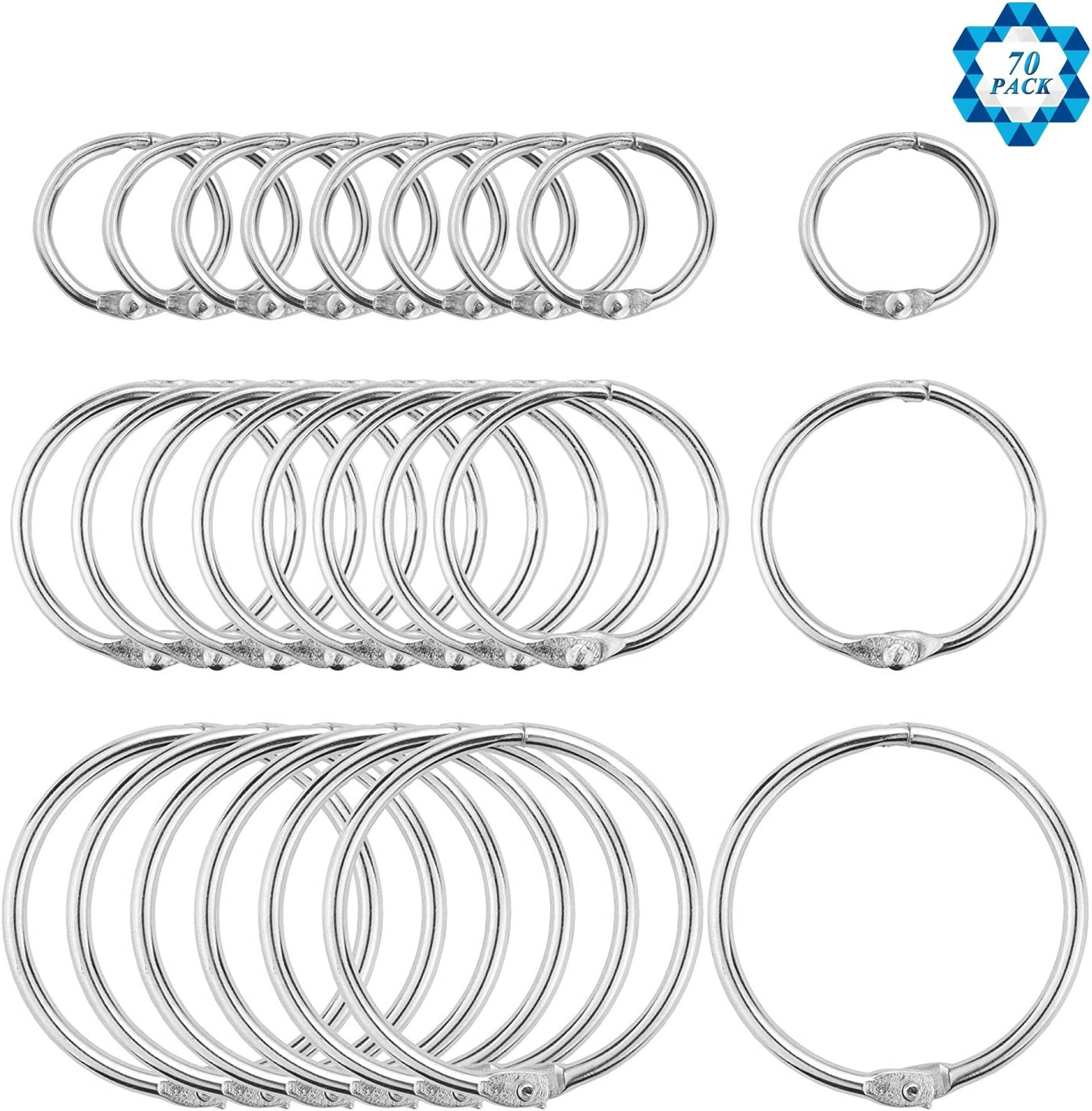 SOTOGO 70 Pieces Book Rings Loose Leaf Binder Ring Key Chain Key Rings,Including 1 Inch 1.2 Inch 1.8 Inch Three Size