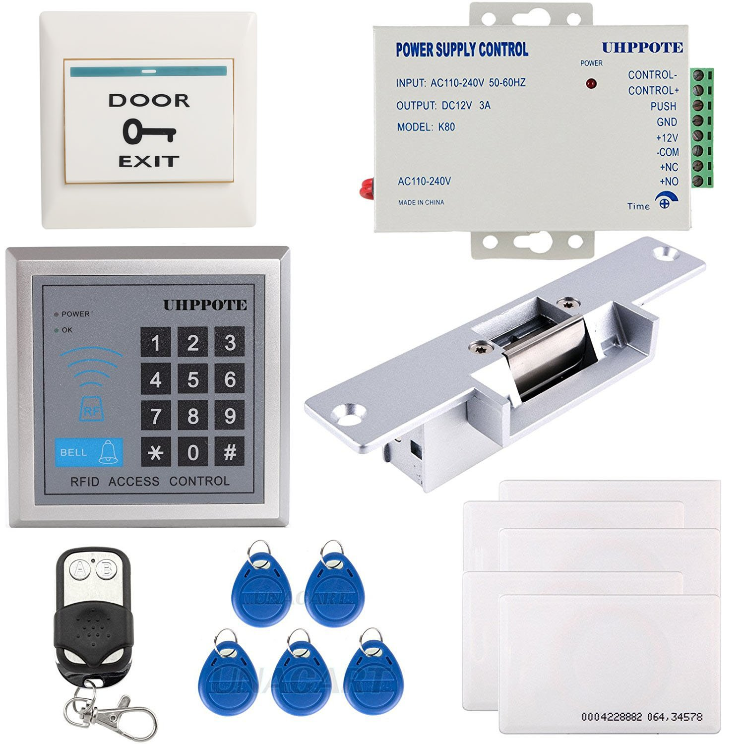 UHPPOTE Full Complete 125KHz EM-ID Card Single Door Access Control Keypad System Kit With Electric Strike Lock Remote Control by UHPPOTE