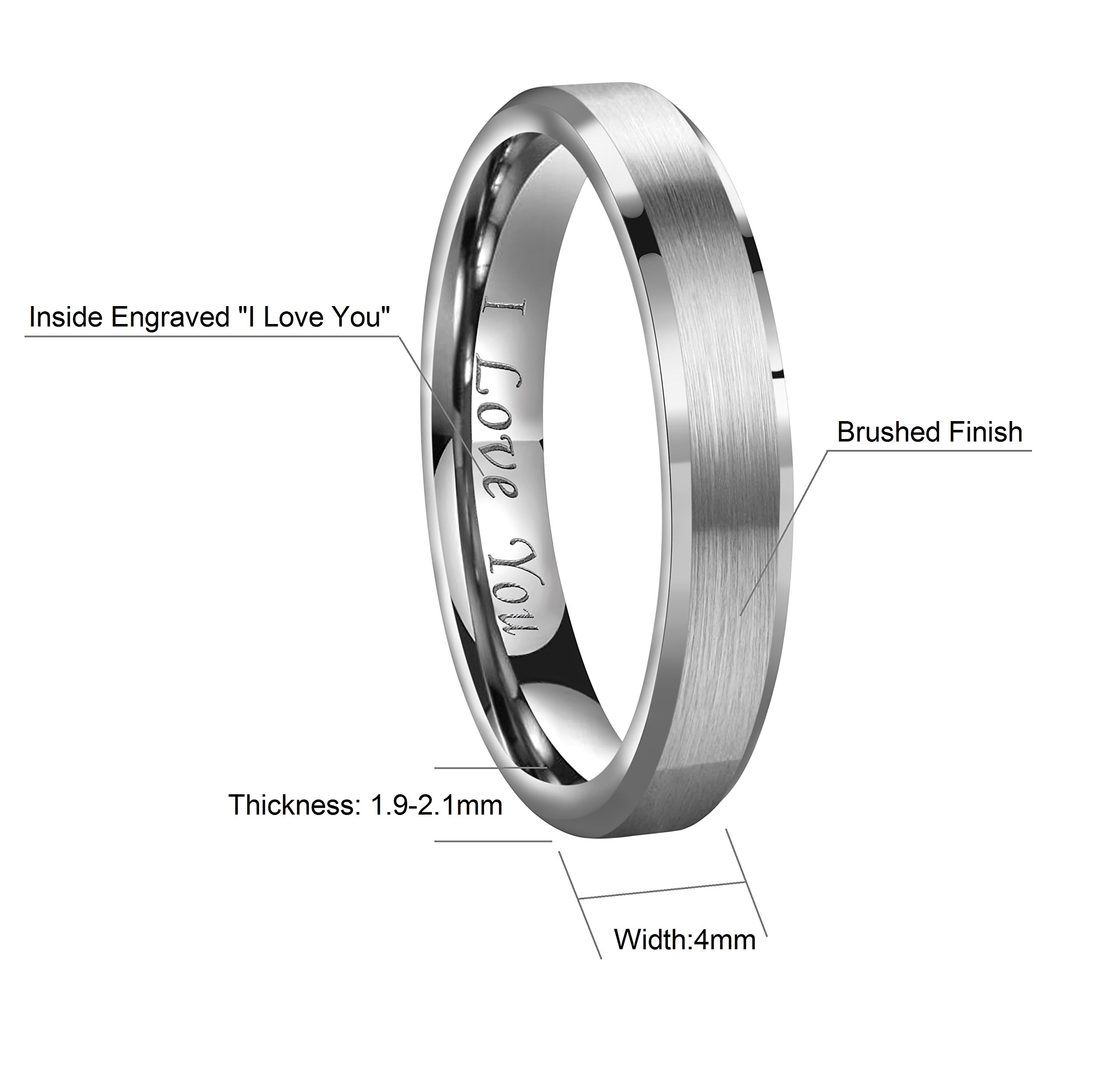 CROWNAL 4mm/6mm/8mm Tungsten Couple Wedding Bands Rings Men Women Brushed Finish Beveled Edges Engraved I Love You Size 4 To 17 (4mm,5) by CROWNAL (Image #2)