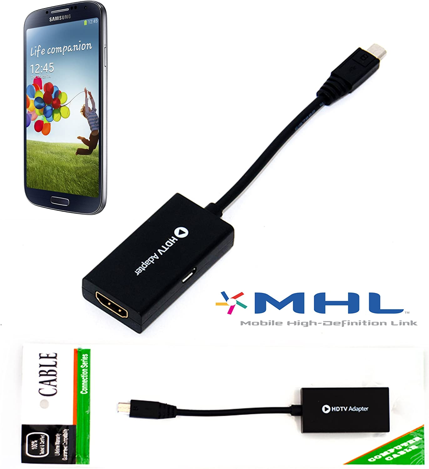 MHL to HDMI TV-out for Samsung Galaxy S4 Note 2 Adapter HDTV 11 pin Cable from HNPtech: Amazon.es: Electrónica