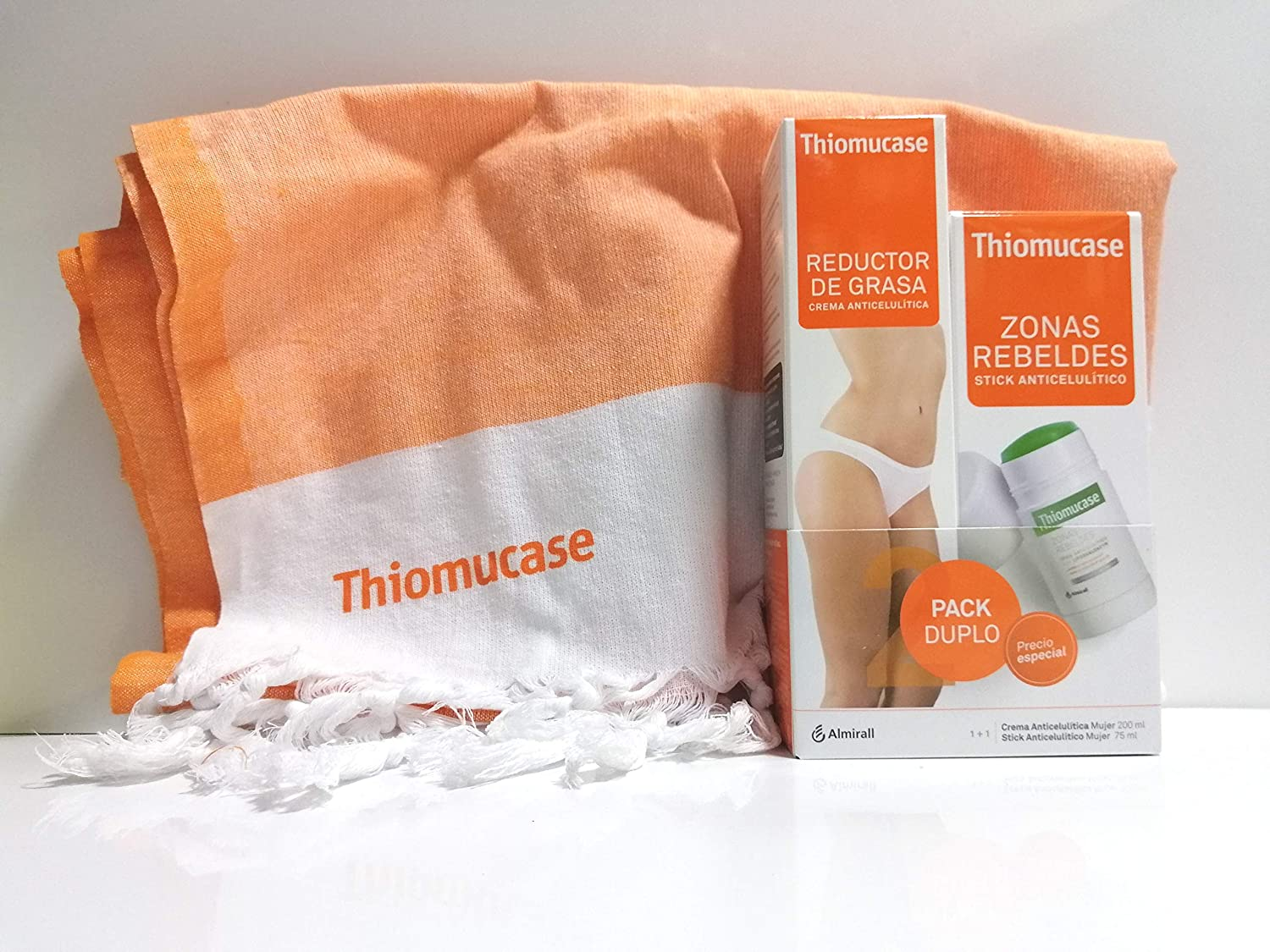 THIOMUCASE PACK STICK ROLL-ON 75ML + CREMA REDUCTORA 200 ML + PAREO/TOALLA