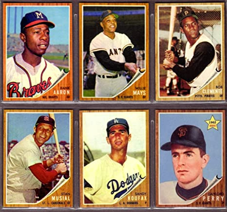 1962 6 Topps Card Baseball Reprint Lot 2 Willie Mays Hank