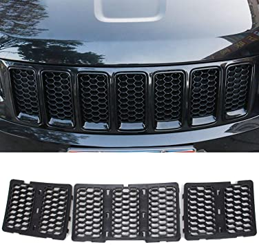 7pcs//Set CheroCar Front Grill insters Cover for Jeep Grand Cherokee 2017-2020 Exterior Accessories Black