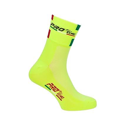 Par de calcetines para ciclismo Pro-Line tricolores. Amarillo flúor