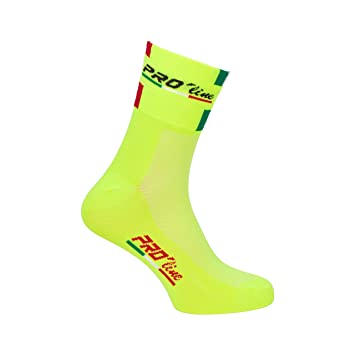 Par de calcetines para ciclismo Pro-Line tricolores. Amarillo flúor: Amazon.es: Deportes y aire libre