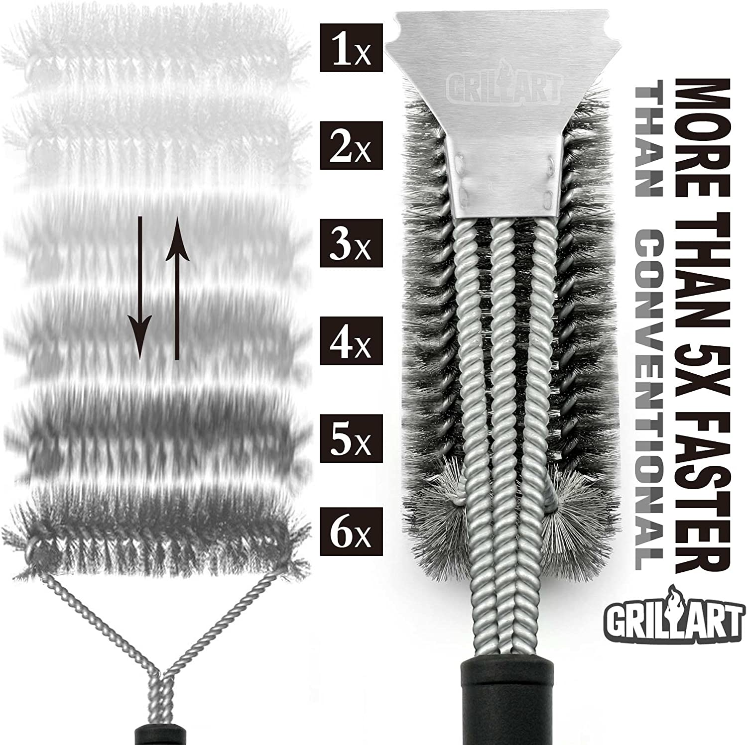"""Grill Brush and Scraper - Extra Strong BBQ Cleaner Accessories - Safe Wire Bristles 18""""Stainless Steel Barbecue Triple Scrubber Cleaning Brush for Weber Gas/Charcoal Grilling Grates, Best wizard tool: Home & Kitchen"""