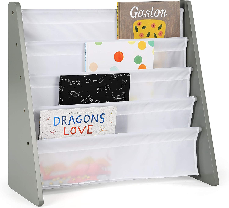 Tot Tutors WO671 Kids Book Rack Storage Bookshelf, Grey/White