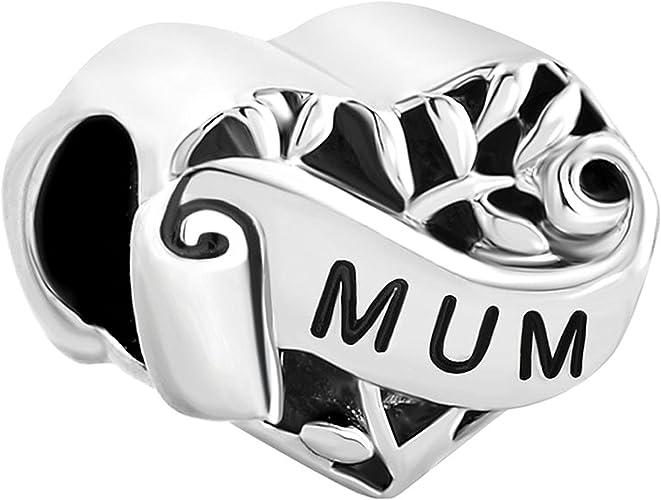 Heart Mum I Love You Mother Family Filigree Charms Sale Cheap Beads Fit Pandora Chamilia Bracelet Gift Amazon Co Uk Jewellery
