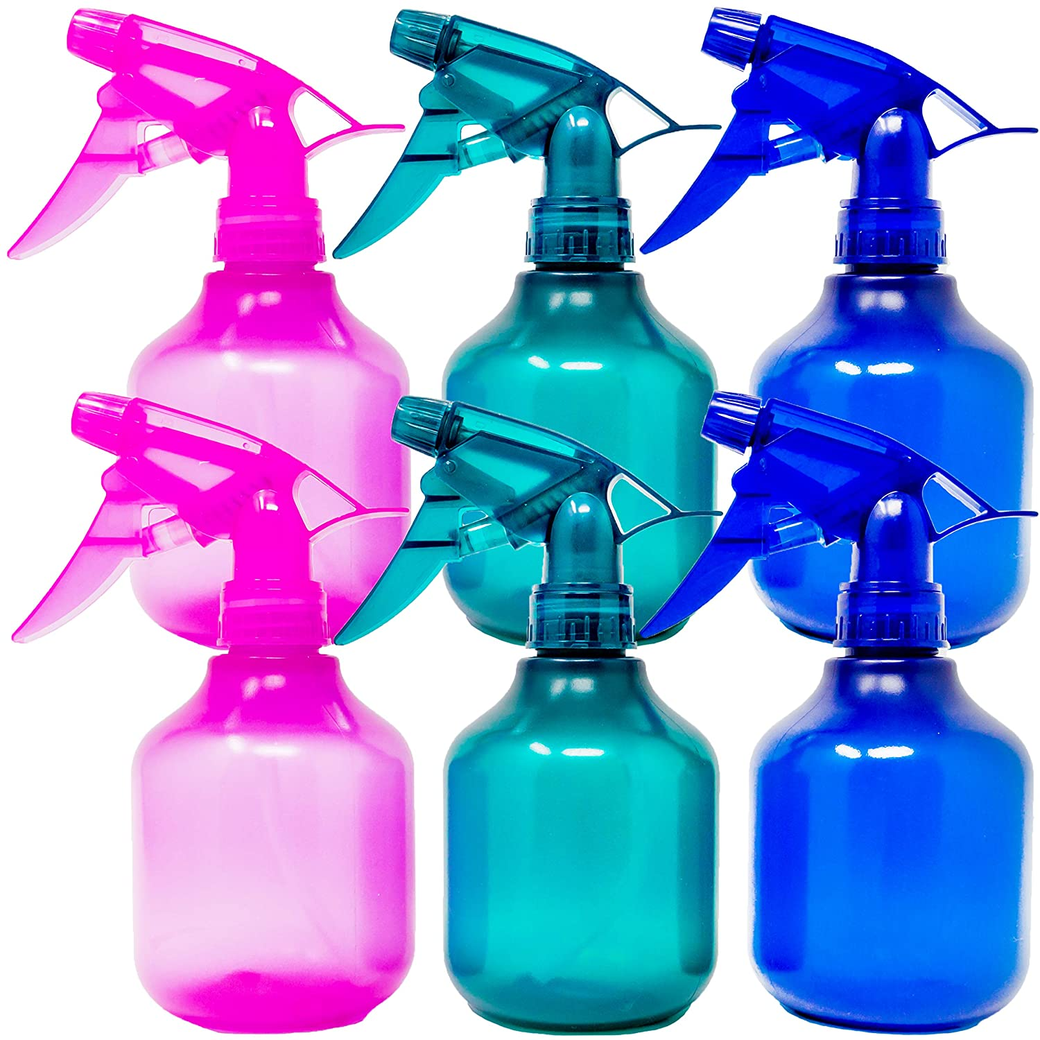 Youngever 6 Pack Empty Plastic Spray Bottles, 12 Ounce Spray Bottles for Hair and Cleaning Solutions, 3 Assorted Colors