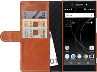 StilGut Talis Case con Tasca per Carte, Custodia in Pelle Cover per Sony Xperia XA1 Ultra. Chiusura a Libro Flip-Case in Vera Pelle Fatta a Mano, Cognac