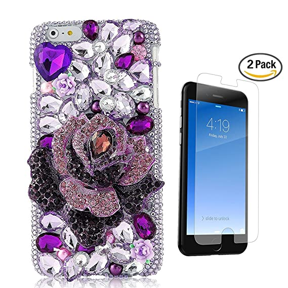 new product 11921 e5337 STENES iPhone 8 Plus Case - 3D Handmade Luxury Big Rose Flowers Blossom  Sparkle Rhinestone Cover Bling Case for iPhone 7 Plus/iPhone 8 Plus Screen  ...