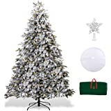 XmasExp 7.5ft Pre-Lit Snow Flocked Artificial Christmas Pine Tree Holiday Decoration with 500T Warm LED Lights, Storage Bag,