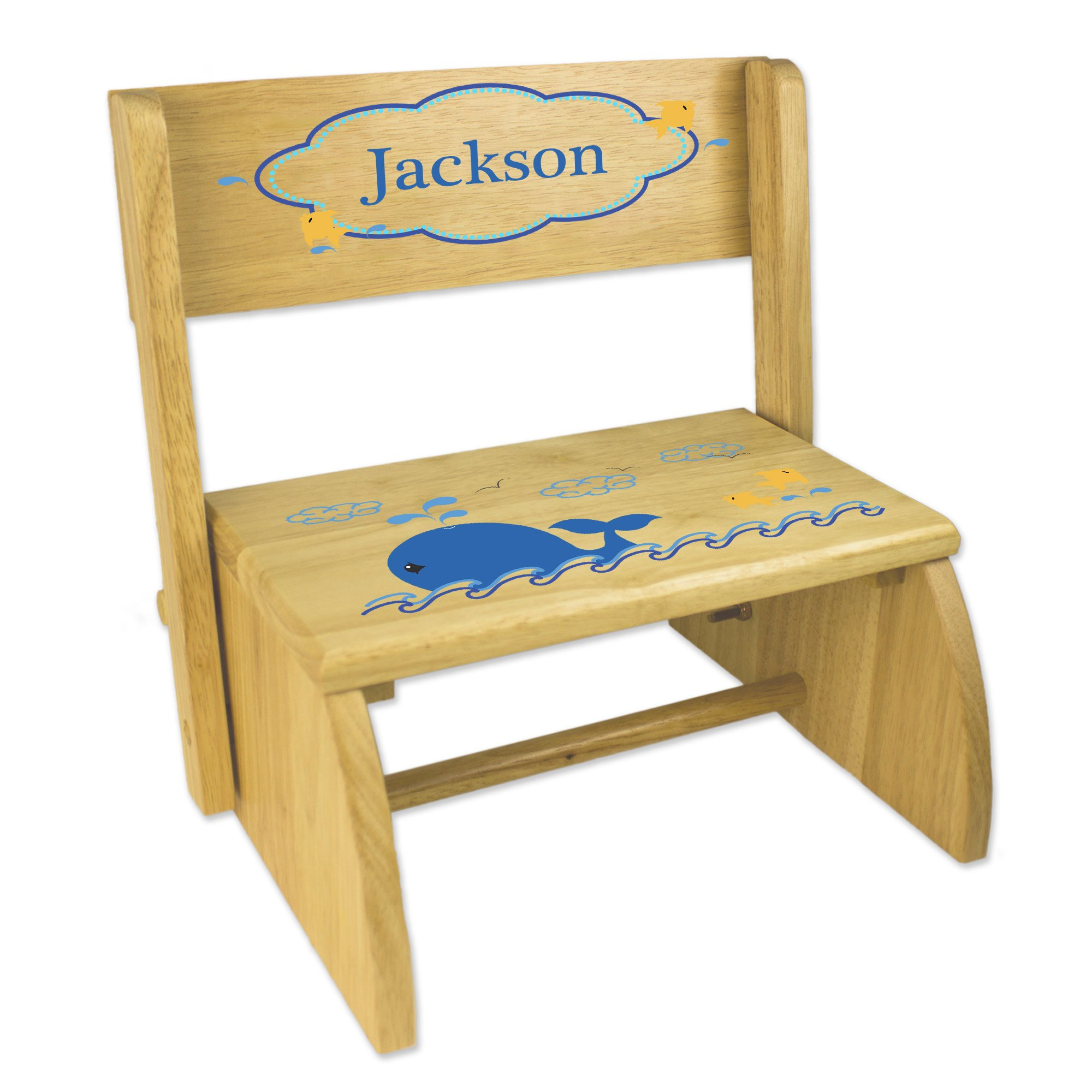 Personalized Blue Whale Childrens and Toddlers wooden folding stool