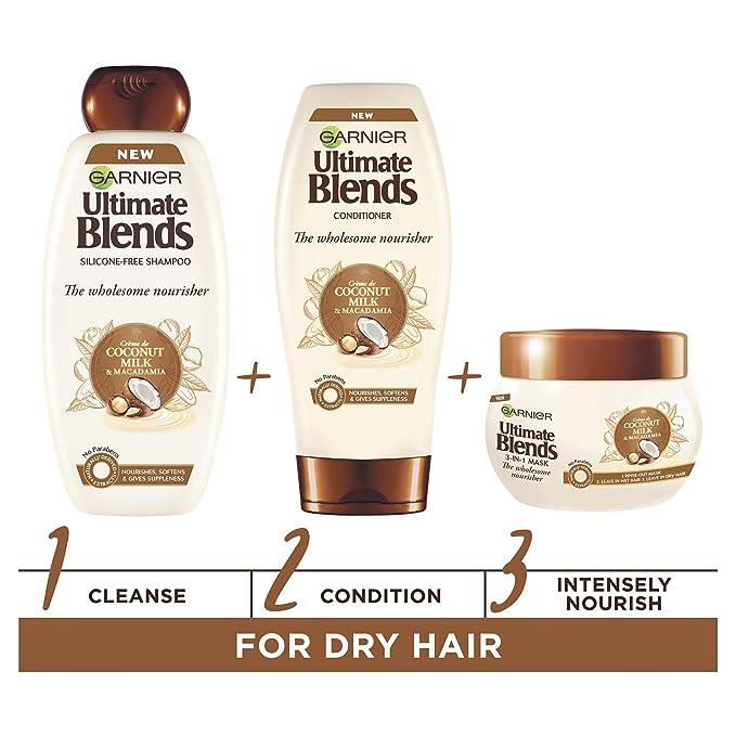 Acondicionador Garnier Original Remedies de leche de coco y aceite de macadamia, tratamiento para cabello seco, 200 ml: Amazon.es: Belleza