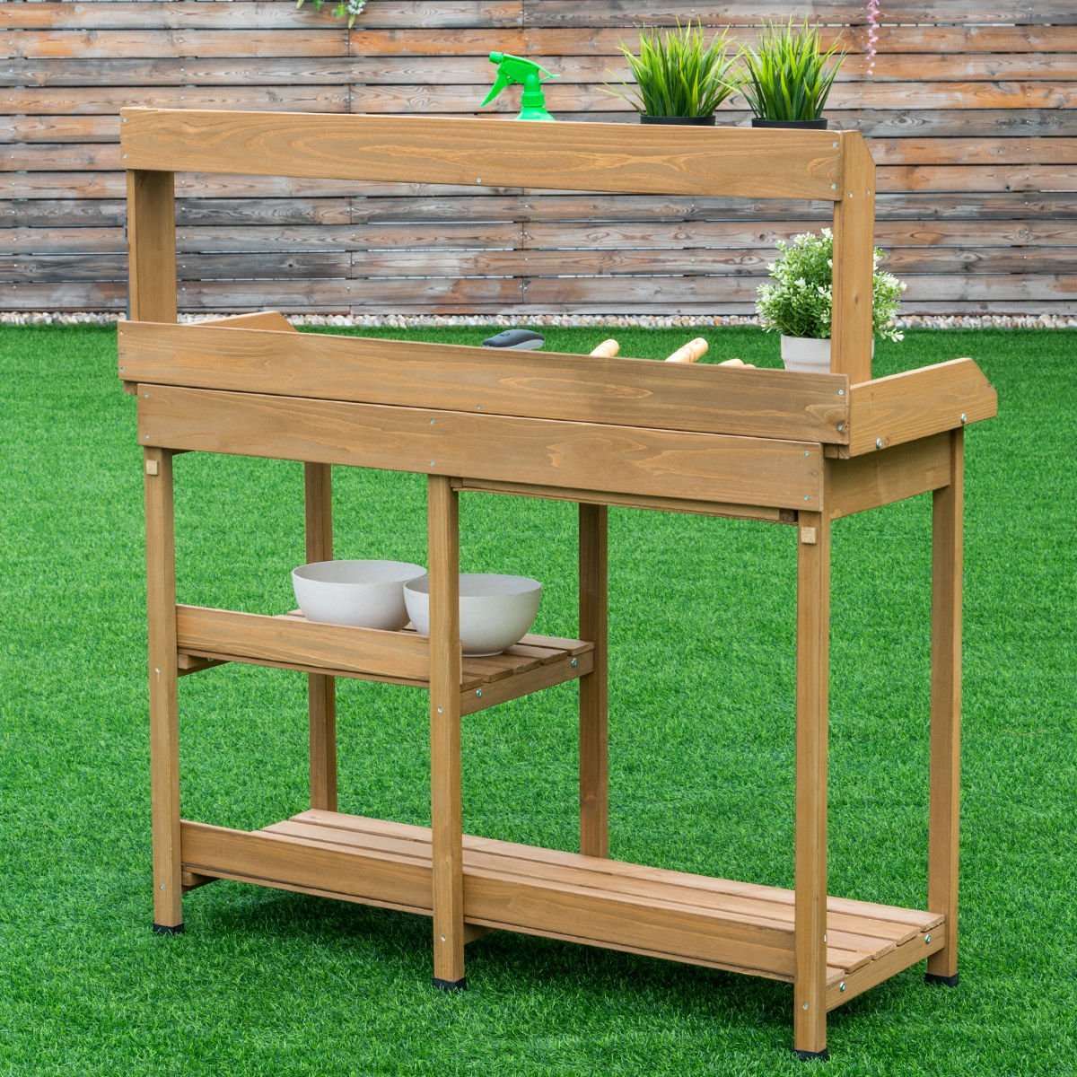Giantex Potting Table Bench Outdoor Indoor Work Station Garden Planting Wood Shelves by Giantex (Image #4)