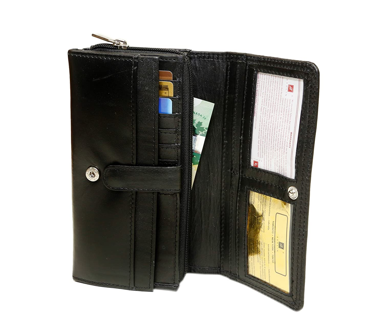L7902-07-01 ASHLIN Womens Crossbody Wallet 13 Pockets and Strap 100/% Lambskin Napa Midnight Black