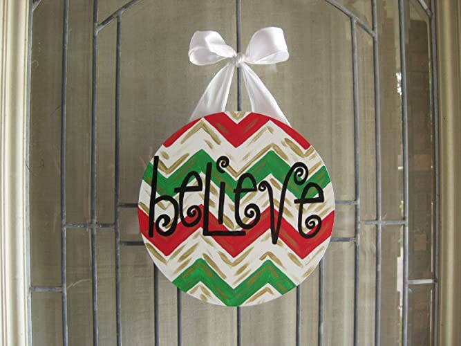believe christmas cajun southern new orleans door hanger santa christian circle wood sign