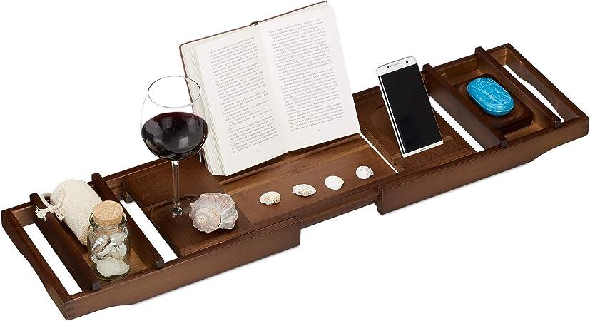 Allungabile 6 x 109 x 23 cm Fermalibri Relaxdays Calice Porta-Saponetta Grigio Mensola per Vasca da Bagno in bamb/ù 109 cm