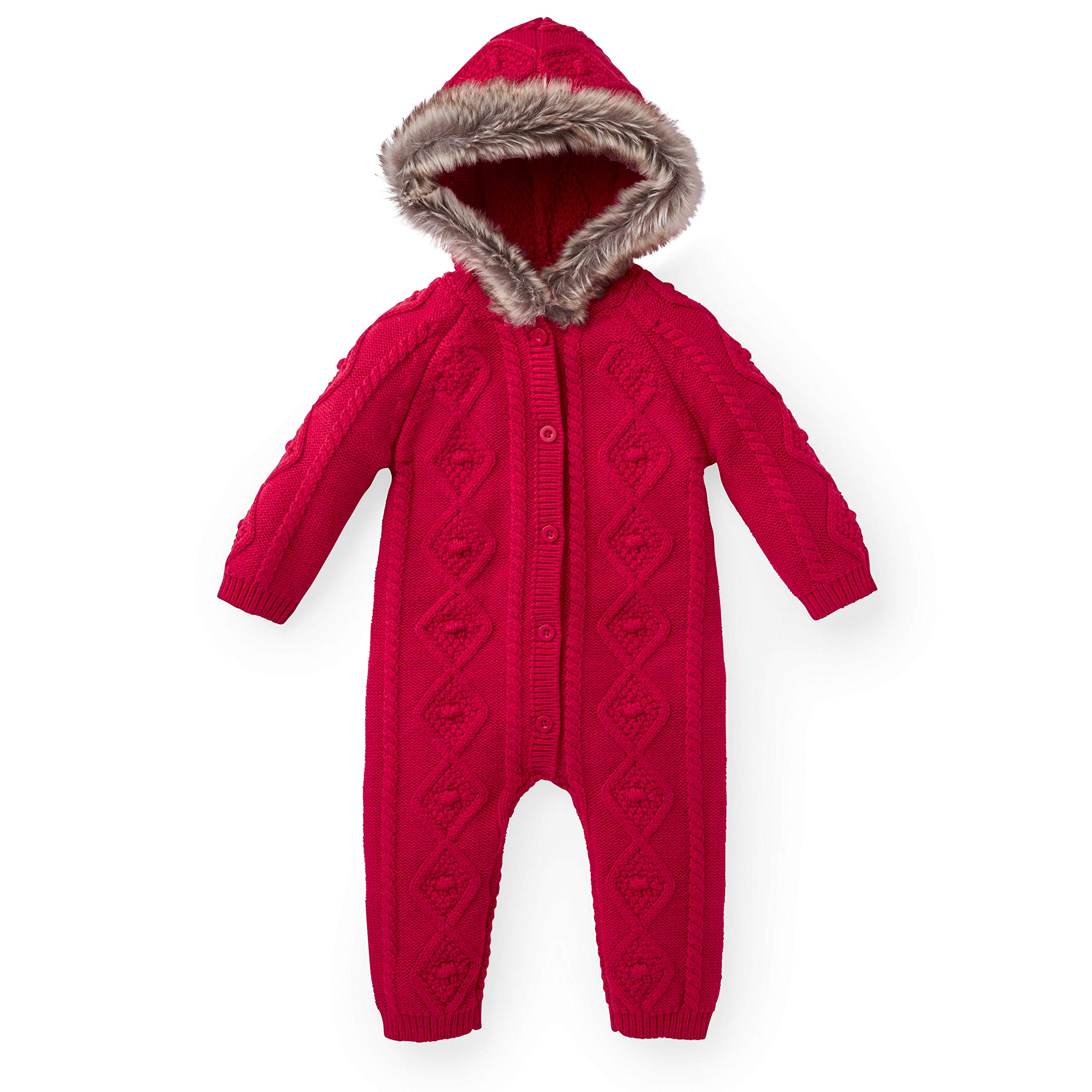 Hope & Henry Layette Faux Fur Trimmed Red Cable One Piece by Hope & Henry