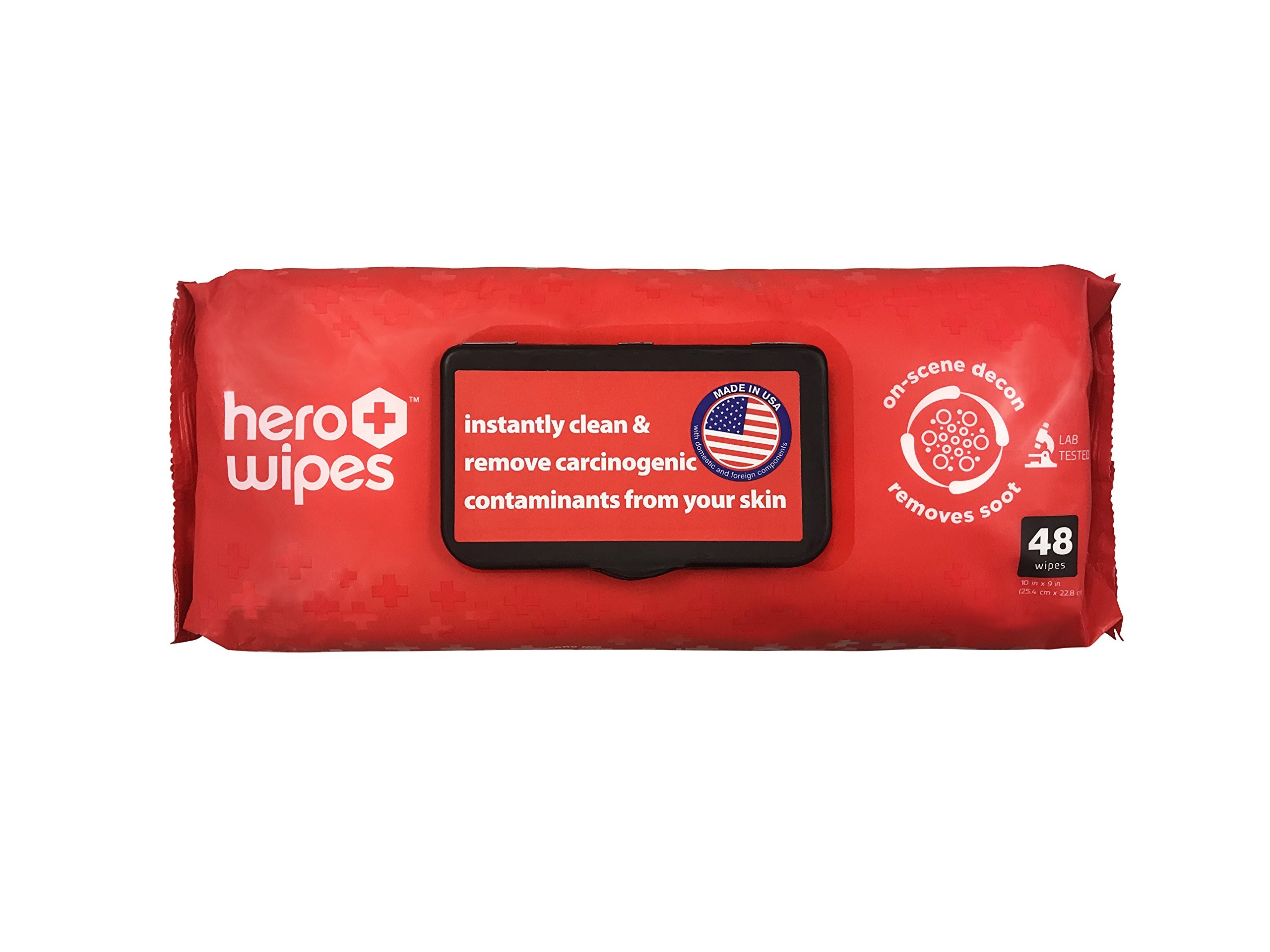 Hero Wipes On Scene Decon Body Wipes for Firefighters (48 Count) - Removes 98% of Carcinogens - All Natural Alcohol Free Formula - Removes Soot, Smoke and Toxins - Made in USA