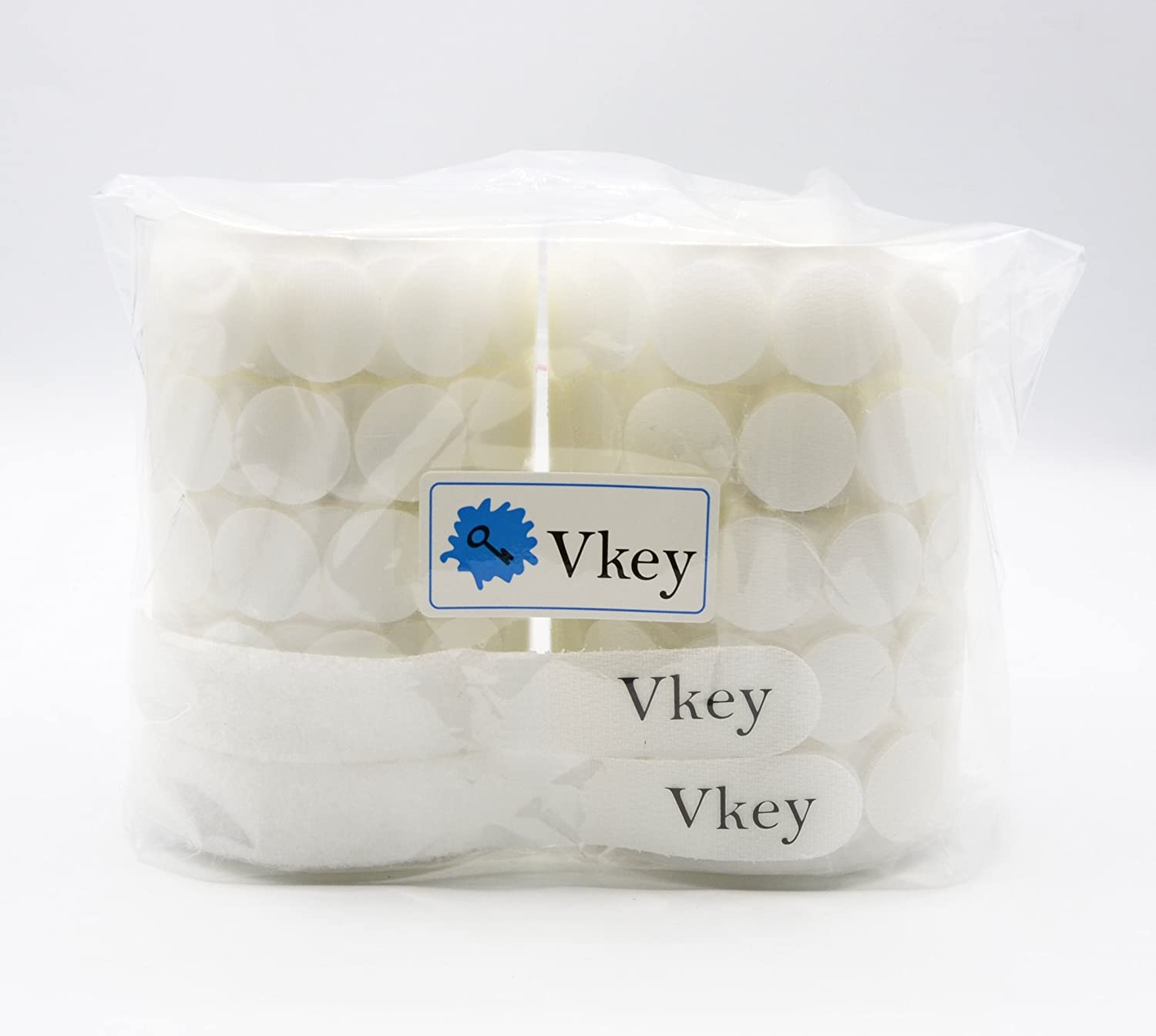 Vkey 500pcs 20mm Diameter Sticky Back Coins Self Adhesive Dots Tapes White Compatible with Hook Loop 250 Pair Sets