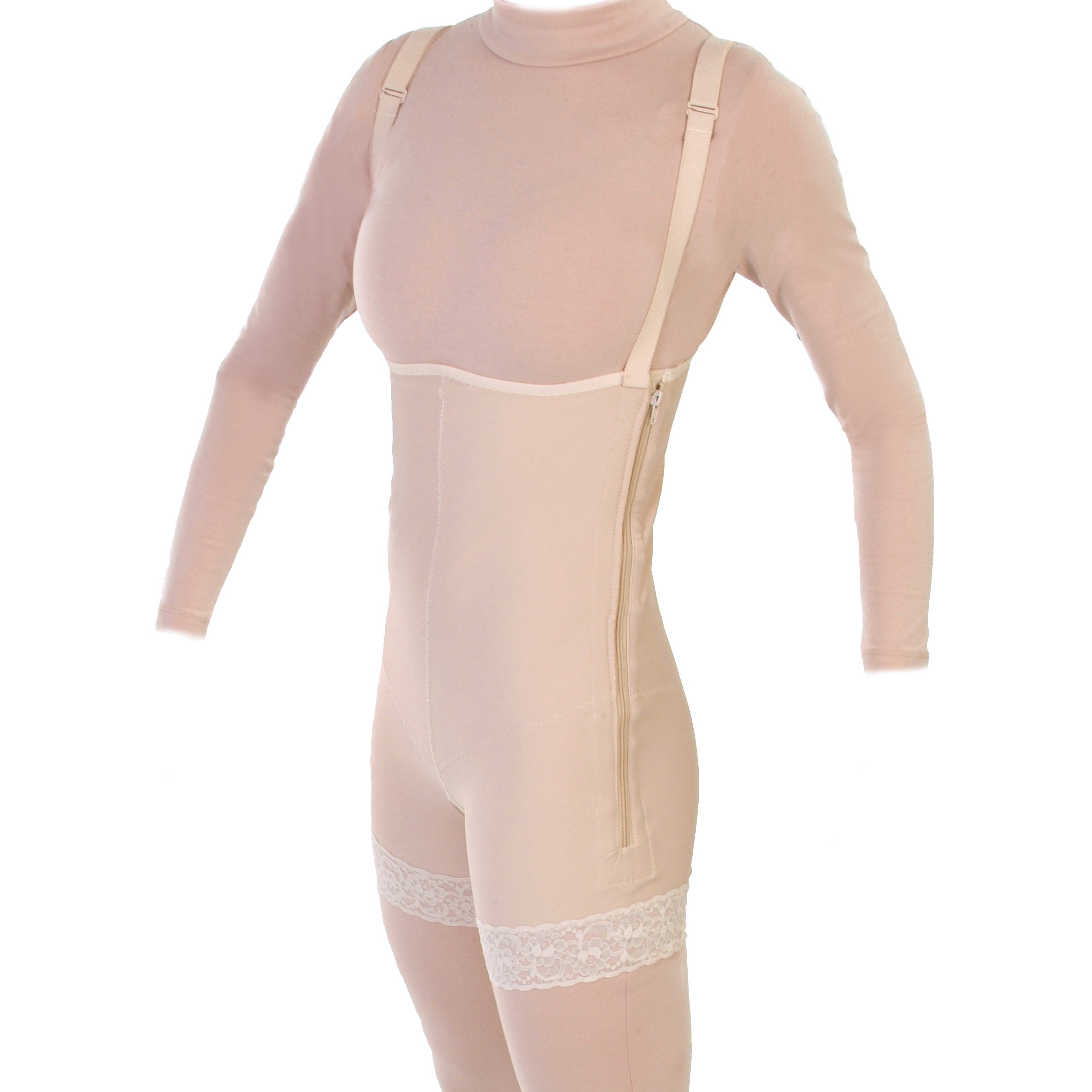 Style 33Z High Thigh Body Garment with Suspenders and Zippers (Small)