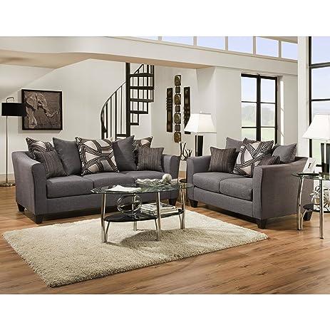 SOFA TRENDZ Angelo Grey Microfiber Sofa And Loveseat (Set Of 2)
