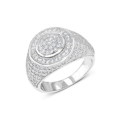 Zilver 14k White Gold Cluster Cz Iced Out Pinky Ring For Men Hip Hop