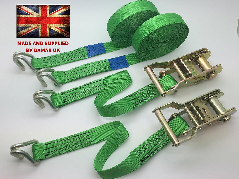 Damar Webbing Solutions Ltd Quantity 2 of 5m x 25mm x 1500kgs Ratchet tie down straps colour Green