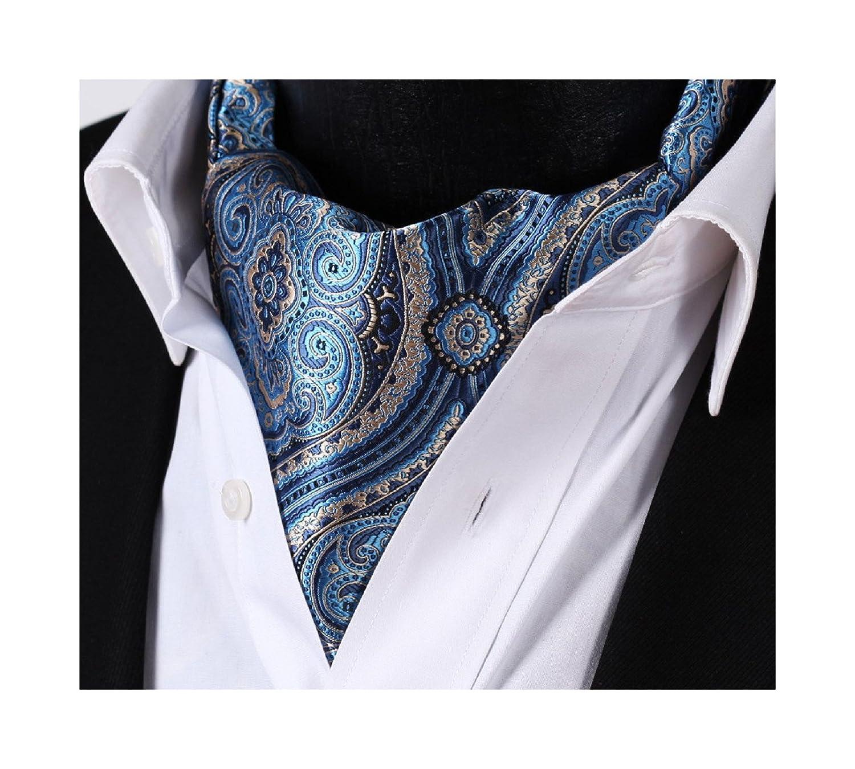 Enmain Men's Ascot Floral Paisley Jacquard Woven Gift Cravat Tie RF403B-EN
