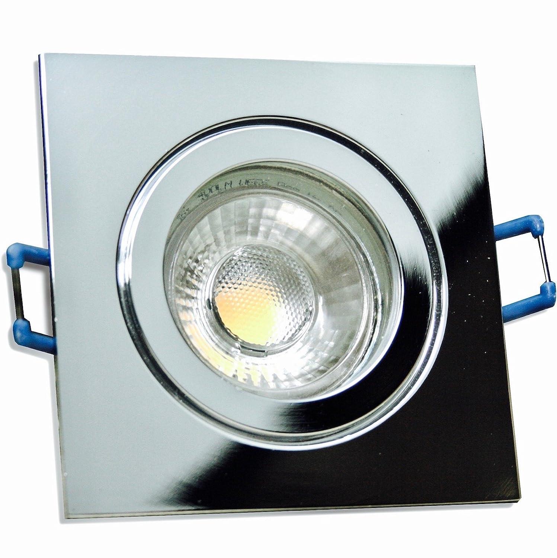 4 Stück IP44 MCOB Modul Bad Einbauleuchte Aqua 230 Volt 5 Watt Eckig Chrom glänzend Warmweiß