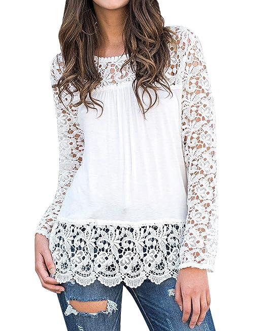 StyleDome Mujer Camiseta Otoño Encaje Mangas Larga Blusa Cuello Redondo Elegante Casual Bonita Tops Blanco S