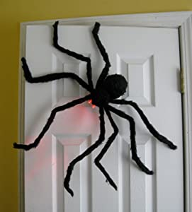 Prextex Huge 4 Ft. Black Hairy Spider / Tarantula with LED Eyes for Halloween Haunt Décor Best Halloween Decoration