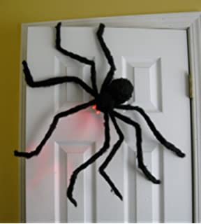 prextex huge 4 ft black hairy spider tarantula with led eyes for halloween haunt
