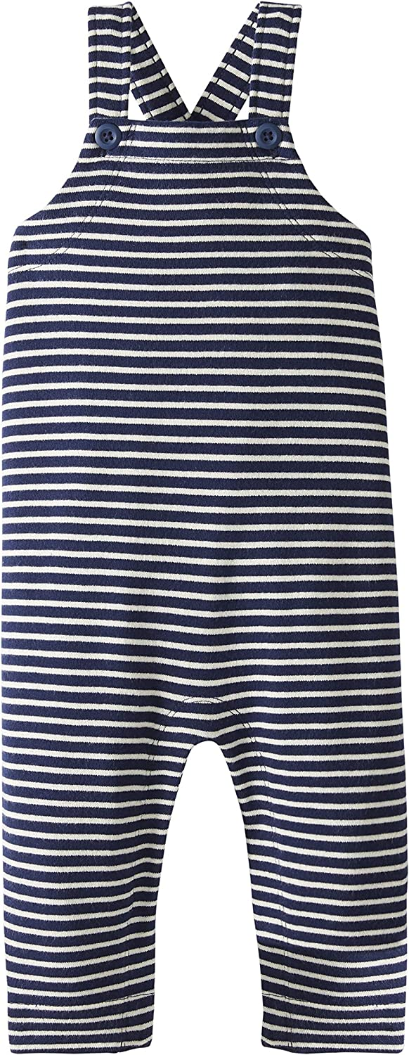Navy Stripe Moon and Back by Hanna Andersson Knit Overalls 6-12 mos