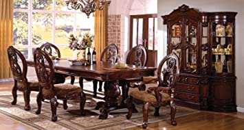 Tuscany I Antique Cherry Finish 9 Piece Formal Dining Table Set
