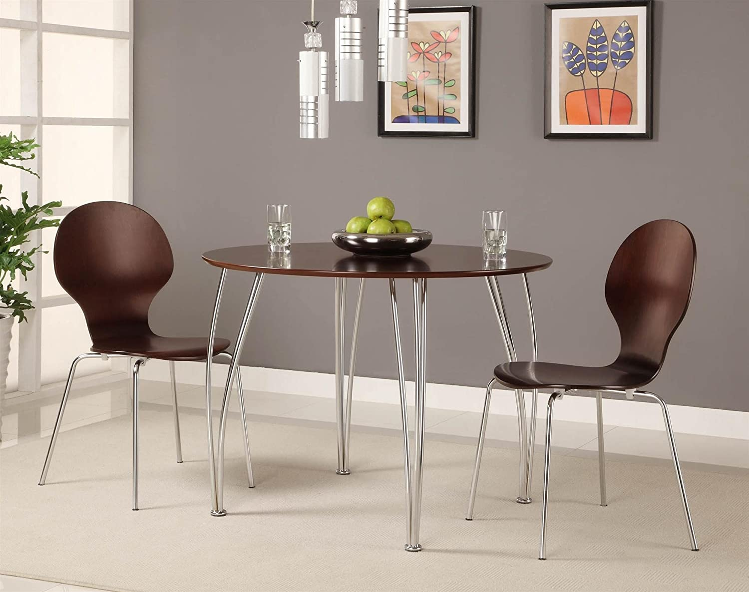 Amazon.com   Novogratz Shell Bentwood Chair With Silver Chrome Rounded  Legs, Set Of 2, Espresso   Chairs